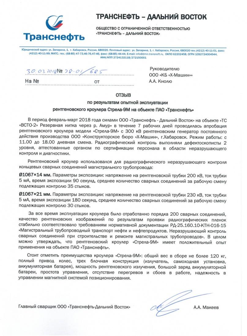 Отзыв Транснефть-ДВ, ООО КБ Икс-Машин